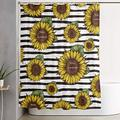 Carwayii Sunflowers Shower Curtain Black and White Stripe Bath Curtains Water Repellent Decorative Bathroom Accessories with 12 Hooks Machine Washable Quick Dry Home Bathtub Decor for Bathroom 72x72In