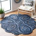 Safavieh Natural Fiber Round Collection NF360N Handmade Boho Charm Farmhouse Jute Area Rug, 4' x 4' Round, Navy