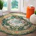 SAFAVIEH Monaco Collection MNC243F Boho Chic Medallion Distressed Non-Shedding Dining Room Entryway Foyer Living Room Bedroom Area Rug, 8' x 8' Round, Forest Green / Light Blue