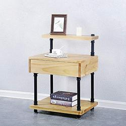 Pine Wood End Table with Storage for Living Room,Industrial Pipe Night Stand with Drawer for Bedrooms,Bedside Table Night Table Bedstand,Tall Nightstand Metal Accent Table Coffee Table(Teak Color)