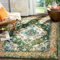 Safavieh Monaco Collection MNC243F Boho Chic Medallion Distressed Non-Shedding Stain Resistant Living Room Bedroom Area Rug, 4' x 4' Square, Forest Green / Light Blue