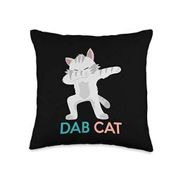 Funny Animal Pet Designs & Gifts Funny Dab Cat Dancing Kitten Cute Kitty Lover Cartoon Kids Throw Pillow, 16x16, Multicolor