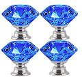 JUYOU Crystal Door Knobs Clear Crystal Glass Door Knobs Handle Cupboard Pull Drawer Kitchen Cabinet Drawer Knobs Set with Screws (42MM 4Pcs Blue)