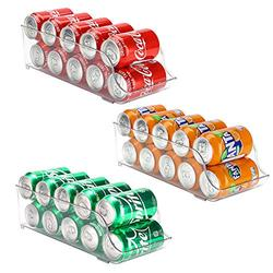 Puricon 3 Pack Refrigerator Organizer Bins Can Dispenser Storage Holder, Soda Beverage Canned Food Container Bin Clear Plastic Pantry Storage Rack for Fridge Pantry Kitchen Countertops Cabinets