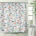 Stacy Fay Multi-Color Fishes Shower Curtain, Kids Shower Curtains Set with 12 Hooks, Waterproof Polyester Fabric Curtain for Bathroom, 72 x 78 Inch, Cartoon Funny Fishes Ocean Animals