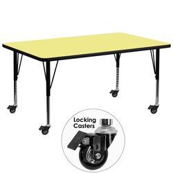 "Flash Furniture XU-A3072-REC-YEL-T-P-CAS-GG Rectangular Mobile Activity Table - 72""L x 30""W, Laminate Top, Yellow"