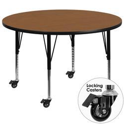 "Flash Furniture XU-A60-RND-OAK-T-P-CAS-GG 60"" Round Mobile Activity Table - Laminate Top, Oak"