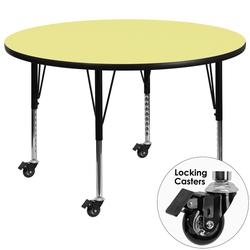 """Flash Furniture XU-A60-RND-YEL-T-P-CAS-GG 60"""" Round Mobile Activity Table - Laminate Top, Yellow"""