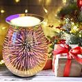 3D Glass Electric Wax Melt Warmer Wax Burner for Scented Wax Home Office Decor Attractive Design Fireworks Wax Melter for Scented Wax Air Freshener Electric Wax Warmer for Scented Wax by KalasKorner