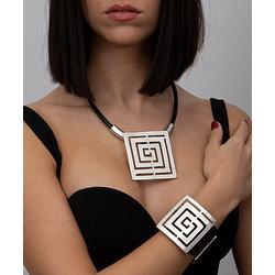 YUSHI Women's Bracelets SILVER - Black Leather & Silvertone Geometric Square Pendant Necklace Set