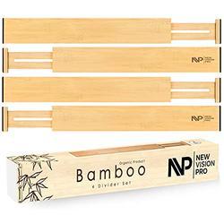 "Adjustable & Expandable Bamboo Drawer Dividers- Spring Loaded Wood Organizer Separators- Ideal for Kitchen Drawers, Dresser, Bedroom Drawers, Bathroom Cabinet Drawer Dividers(2.5"", 17.5""-22"")"