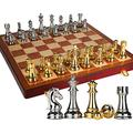 Chess Set Metal Glossy Golden and Silver Chess Pieces Solid Wooden Folding Chess Board High Grade Professional Chess Gift (Size : 30cm)