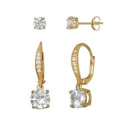 PRIMROSE 18k Gold Plated Sterling Silver Cubic Zirconia Stud & Pave Drop Earring Set, Women's, Yellow