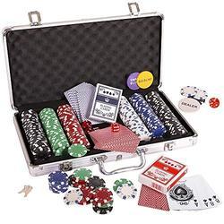 YADSHENG Poker Chips Poker Set Dice Playing Cards Set Chip Dice Style Poker Set with Case Poker Set 300pc 11.5g Games (Color : Silver, Size : 39×24×8 cm)