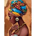 Diymood Painting Acrylic Paint by Number Kits for Students Beginner, DIY Color Hat African Woman Painting Oil Painting Drawing Wall Home Decor 16x20inch