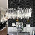 Phube Lighting Chrome Crystal Chandelier Luxury Modern Suspension Pendant Light Elegant Ceiling Lamp Lighting Fixture for Dining Room(90CM)