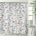 Stacy Fay Multi-Color Fishes Shower Curtain, Kids Shower Curtains Set with 12 Hooks, Waterproof Polyester Fabric Curtain for Bathroom, 72 x 84 Inch, Cartoon Funny Fishes Ocean Animals