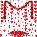33 Feet Valentine's Day Tinsel Garland, 4 Pieces Red Glitter Heart Garlands and 200 Pieces Rose Petals Artificial Flower Valentine's Day Garland Banner Kit for Valentine's Day Wedding Decoration