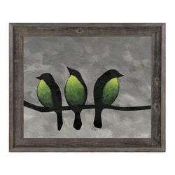 Click Wall Art 'Three Green Breasted Birds' Framed Print of PaintingCanvas & Fabric in Black/Brown/Gray, Size 14.5 H x 17.5 W x 1.0 D in   Wayfair