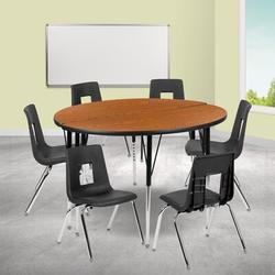Flash Furniture 8 Piece Adjustable Height Circular Activity TableLaminate/Metal, Size 30.2 H x 48.0 W x 48.0 D in | Wayfair