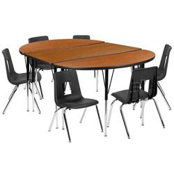 Flash Furniture Wave Collaborative Laminate 9 Piece Play Table & Chair SetWood/Metal in Black/Brown, Size 76.0 W x 47.5 D in | Wayfair