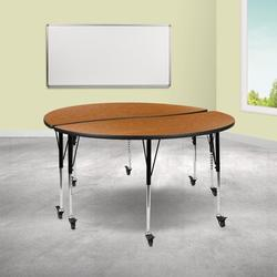 Flash Furniture Mobile Adjustable Height Circular Activity Table w/ Casters Laminate/Metal in Green, Size 25.0 H x 60.0 W x 48.0 D in | Wayfair