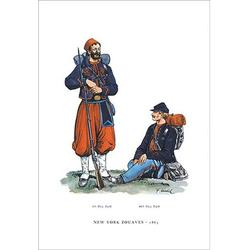 Buyenlarge New York Zouaves, 1863 Painting Print in Blue/Brown, Size 42.0 H x 28.0 W x 1.5 D in   Wayfair 0-587-03909-4C2842