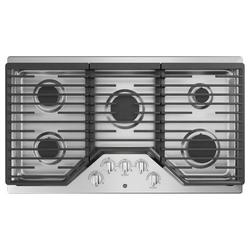 "GE Appliances Built-in 36"" Gas Cooktop w/ 5 Burners in Gray, Size 5.5 H x 21.0 W x 36.0 D in   Wayfair JGP5036SLSS"