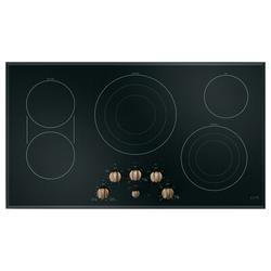 """Café™ 36"""" Built-In Knob Control Electric Cooktop w/ 5 Elements in Black, Size 5.56 H x 20.37 W x 36.0 D in   Wayfair CEP70363MS2"""