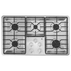 "GE Appliances Built-in 36"" Gas Cooktop w/ 5 Burners in Gray, Size 4.75 H x 21.0 W x 36.0 D in   Wayfair JGP3036SLSS"