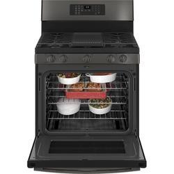 "GE Profile™ GE Profile Smart Appliances 30"" 5.6 cu. ft. Smart Freestanding Gas Range w/ Griddle & Grill in Black, Size 47.0 H x 30.0 W x 29.75 D in"