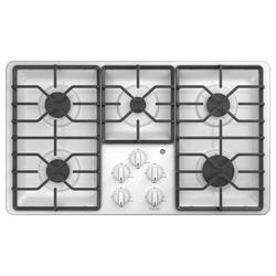 "GE Appliances Built-in 36"" Gas Cooktop w/ 5 Burners in White, Size 4.75 H x 21.0 W x 36.0 D in | Wayfair JGP3036DLWW"