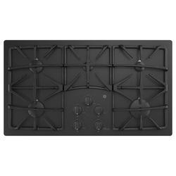 "GE Appliances Built-in 36"" Gas Cooktop w/ 5 Burners in Black, Size 3.87 H x 21.25 W x 36.0 D in   Wayfair JGP5536DLBB"