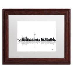 Trademark Fine Art 'Las Vegas Nevada Skyline BG-1' Matted Framed Graphic Art on CanvasCanvas & Fabric in Brown, Size 11.0 H x 14.0 W x 0.5 D in