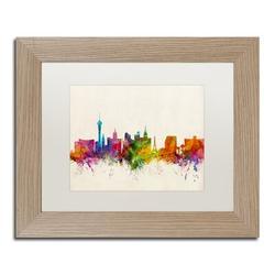 Trademark Fine Art 'Las Vegas Nevada Skyline II' Framed Graphic Art on CanvasCanvas & Fabric in Brown, Size 11.0 H x 14.0 W x 0.5 D in | Wayfair