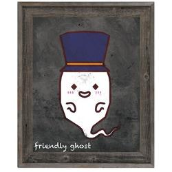 Click Wall Art 'Friendly Ghost' Framed Graphic Art on Canvas in Brown/Gray, Size 14.5 H x 17.5 W x 1.0 D in   Wayfair KHA0000039FRM11X14BST