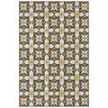 Solo Rugs Melba Geometric Gray/Gold Indoor/Outdoor Area Rug Polypropylene in White, Size 60.0 H x 36.0 W x 0.28 D in | Wayfair W0011-3x5-S1538021LZ