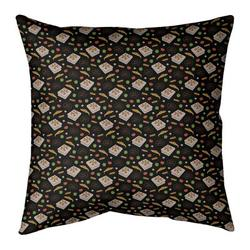 """East Urban Home Pizza Cotton Throw Pillow in Red/Black/Yellow, Size 26"""" H x 26"""" W 