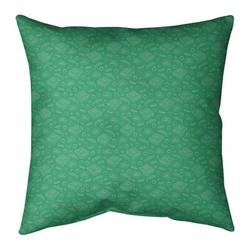 "Ebern Designs Kitterman Pizza Square Throw Pillow, Fill Material: No Fill, Polyester/Polyfill in Jade Green/Off White, Size 26"" H x 26"" W 