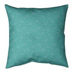 """Ebern Designs Kitterman Pizza Square Throw Pillow, Fill Material: Polyester/Polyfill, Polyester/Polyfill in Teal/Off White, Size 26"""" H x 26"""" W"""