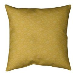 "Ebern Designs Kitterman Pizza Square Throw Pillow, Fill Material: No Fill, Polyester/Polyfill in Yellow/Off White, Size 26"" H x 26"" W 