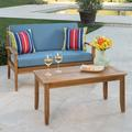 "Three Posts™ Dawlish 2 Piece Conversation Set w/ Cushions, Wood/Natural Hardwoods in Red/Brown/Gray, Size 18""H X 39""W X 19""D | Wayfair X112561294"