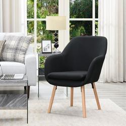 "George Oliver Delgado 25.25"" Wide Linen Side ChairLinen/Linen Blend in Black, Size 33.5 H x 25.25 W x 26.75 D in | Wayfair"