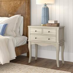 "Birch Lane™ Athol 3 - Drawer Nightstand, Wood in Green/White, Size 32""H X 29""W X 15""D   Wayfair X114323490"