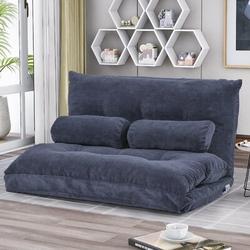 "Latitude Run® Danara Full 43"" Wide Pillow Back Futon Chair Metal/Polyester/Polyester Blend, Size 23.0 H x 43.0 W x 25.0 D in | Wayfair"