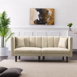 "Corrigan Studio® Moorehead Twin or Smaller 73.62"" Tight Back Convertible Sofa Linen/Linen Blend in Black/Brown, Size 31.5 H x 73.62 W x 32.28 D in"
