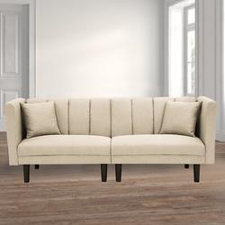 "Corrigan Studio® Ava Twin or Smaller 73.62"" Cushion Back Convertible Sofa Wood/Velvet in Black/Brown, Size 31.5 H x 73.62 W x 32.28 D in   Wayfair"