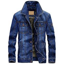 Mens Jean Jacket with Lining Cotton Silm Fit Military Denim Jacket,Light Blue,XXXXL