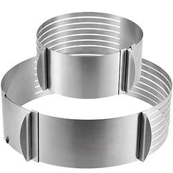 FAATCOI 2 Pack Cake Slicer, Stainless Steel Cake Cutter Leveler 7-Layer 6-8 inch / 9-12 inch Adjustable Cake Ring Molds for Baking, Cutting and Slicing Cakes - Silver