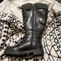 Torrid Shoes | Faux Leather Sweater-Trimmed Knee-High Combat Boot | Color: Black | Size: 8